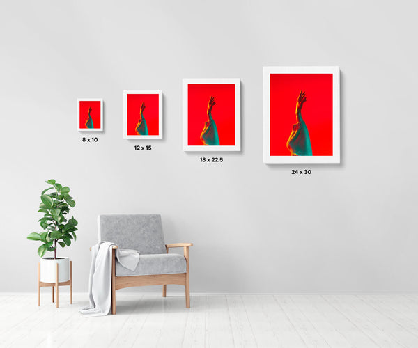 Artwork size comparison chart for Untitled (Reaching), colourful and cinematic photography fine art giclée print on Hahnemühle Pearl paper by Adrian Wojtas