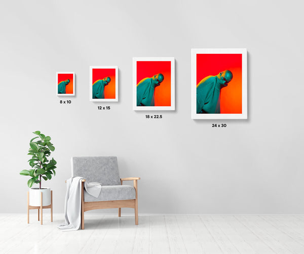 Artwork size comparison chart for Daniel, moody and vibrant photography fine art giclée print on Hahnemühle Pearl paper by Adrian Wojtas