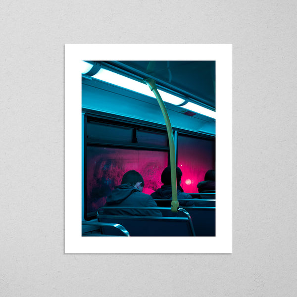 Dublin Bus, moody and cinematic photography fine art giclée print on Hahnemühle Pearl paper by Adrian Wojtas
