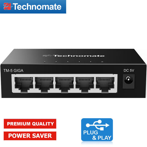 Technomate Tm-5 Giga 5-port Ethernet Gigabit Network Switch Plug & Play 1000mbps