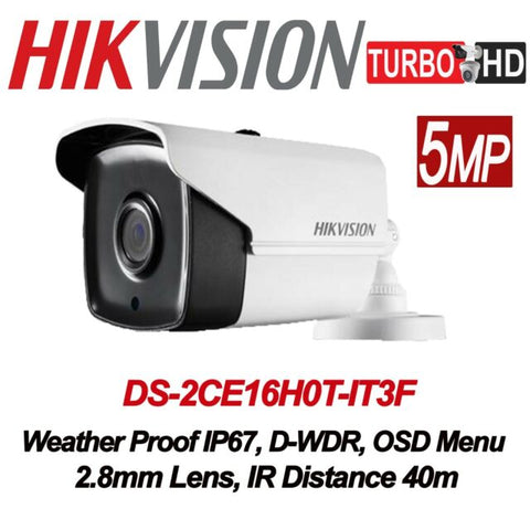 HIKVISION DS-2CE16H0T-IT3F Hikvision 5MP fixed lens EXIR bullet camera