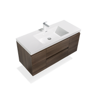 Floating Bathroom Vanity Wall Hung Vanity Unit with Faux Marble Integrated Top&Sink - TONA Angela