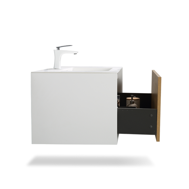 Wall Mounted Bathroom Vanity with Faux Marble Integrated Top&Sink - TONA Furla