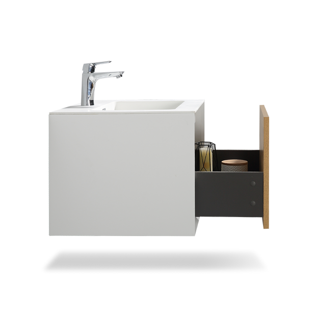 Wall Mounted 24 Inch Bathroom Vanity with Cultured Marble Top & Integrated Sink - TONA Furla