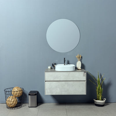 Floating Bathroom Vanity Set with Porcelain Slab Countertop - TONA Lamina