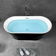 TONA Princess Series Oval Acrylic Freestanding Bathtub in Black&White with Chrome-Plated Drain Cover & Overflow cover