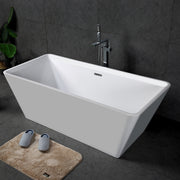 TONA Star Series Rectangular Acrylic Freestanding Bathtub in Glossy White  with Chrome-Plated Drain Cover & Overflow Cover