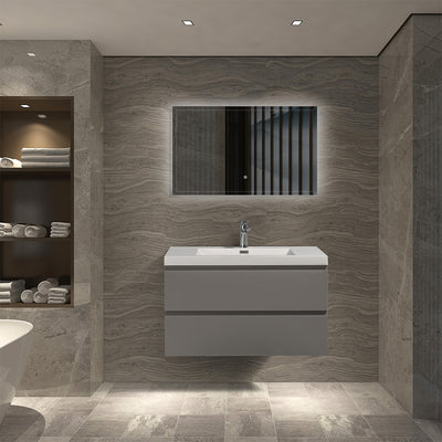Floating Bathroom Vanity with Artificial Stone Integrated Top - TONA Onni