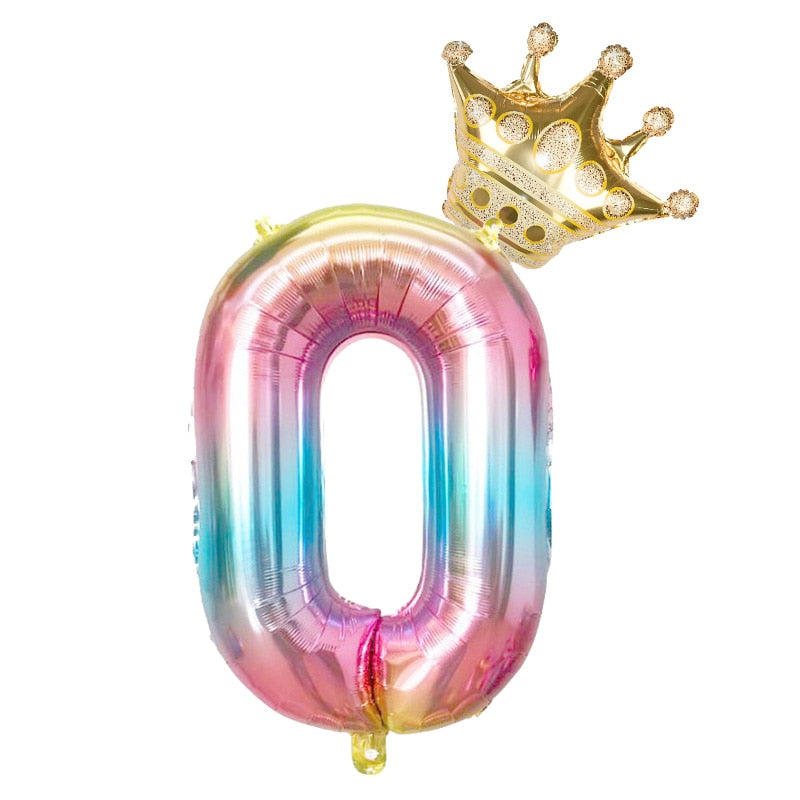XGao 32 Inch Pink Foil Digital Balloons with Crown 0-9 Single Large Number Mylar Balloon Create Your Own Banner for Birthday Bachelor Engagement Gender Reveal Dad Boy Party Baby Shower Decorations