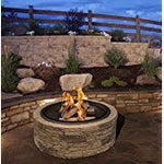 "Cast Stone Wood Burning Fire Pit 35"" Diameter Steel Base By Huntington Cove"
