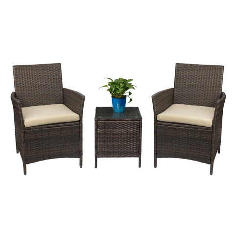 Devoko Patio Porch Furniture Sets 3 Pieces PE Rattan Wicker Chairs with Table Outdoor Garden Furniture Sets