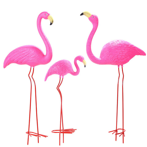 "Ohuhu Family Flamingo Yard Ornaments, Set of 3 (32"", 31"", 19"")"
