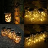 CHBKT 4-Pack Solar-powered Mason Jar Lights (Mason Jar / Handle Included)