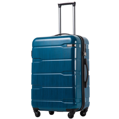 "Coolife Luggage Expandable(only 28"") Suitcase PC+ABS Spinner Built-In TSA lock 20in 24in 28in Carry on (Caribbean Blue, M(24in).)"