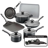 Farberware Nonstick Cookware Pots and Pans Set ,17 Piece, Black