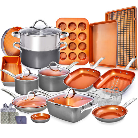Copper Pots and Pans Set -23pc Ceramic Cookware Set- Ceramic Pots and Pans
