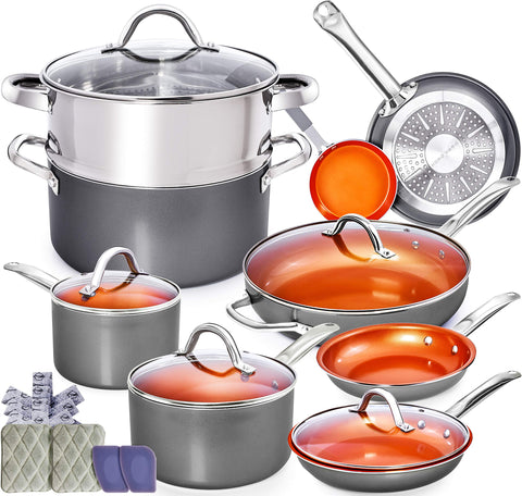 Copper Pots and Pans Set - 13pc Red Copper Cookware Set Copper Pan Set Ceramic Cookware