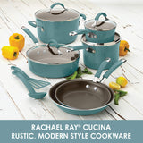 Cucina Nonstick Cookware Pots and Pans Set, 12 Piece, Agave Blue