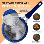 11-Piece Nonstick Kitchen Cookware Set - Excilon Blue Diamond Ceramic Home Kitchen Ware Pots and Pans