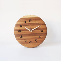Wooden Round Clock Monkey