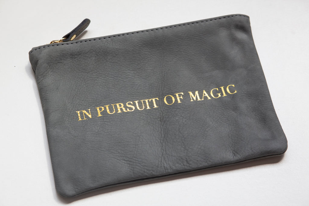 IN PURSUIT OF MAGIC LEATHER POUCH, make-up bag, clutch, travel bag, magic, leather handbag, made in usa