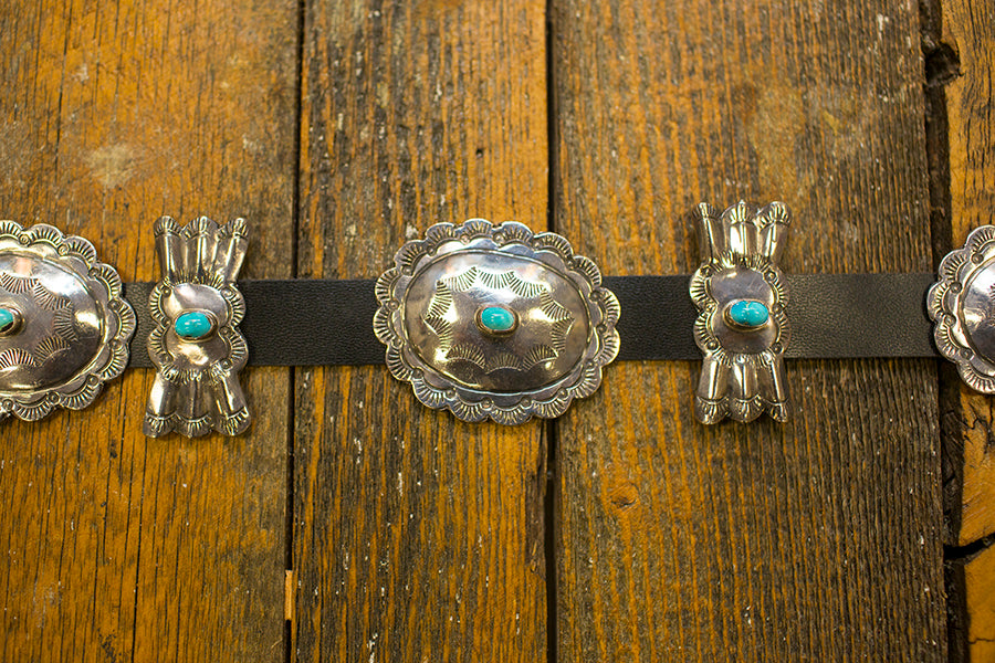 Leather Belt with Silver and Turquoise Nugget Conchos