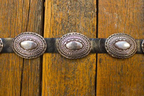 Leather Belt with Silver Conchos