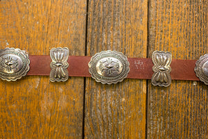 Leather Belt with Butterfly Conchos