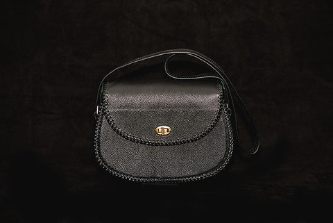 Black Pebble Leather Purse