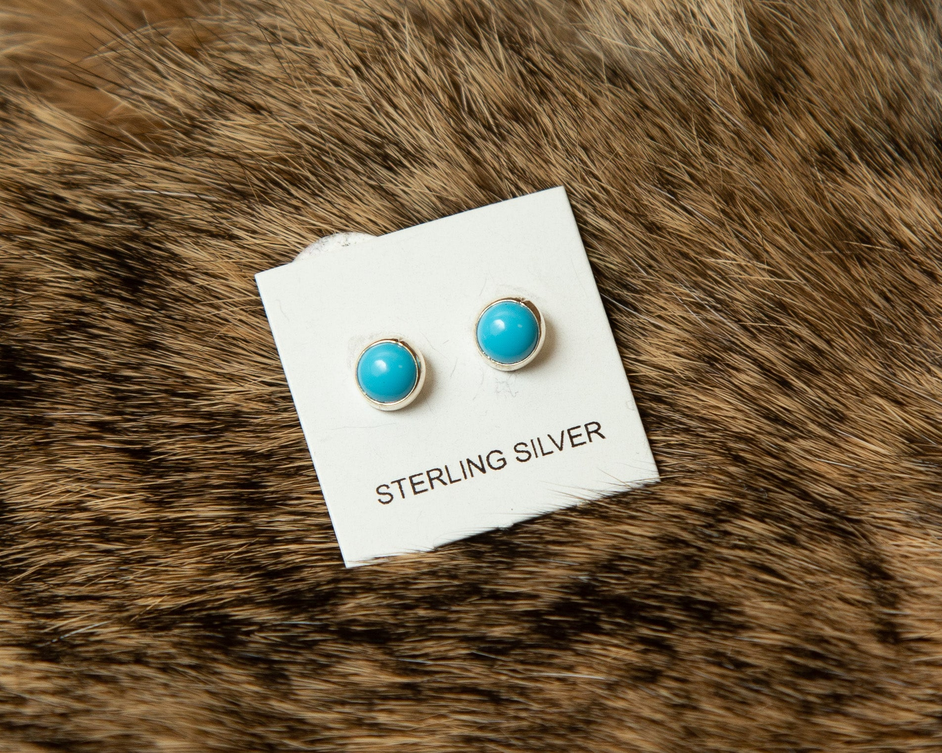 Small Turquoise Round Post Earrings