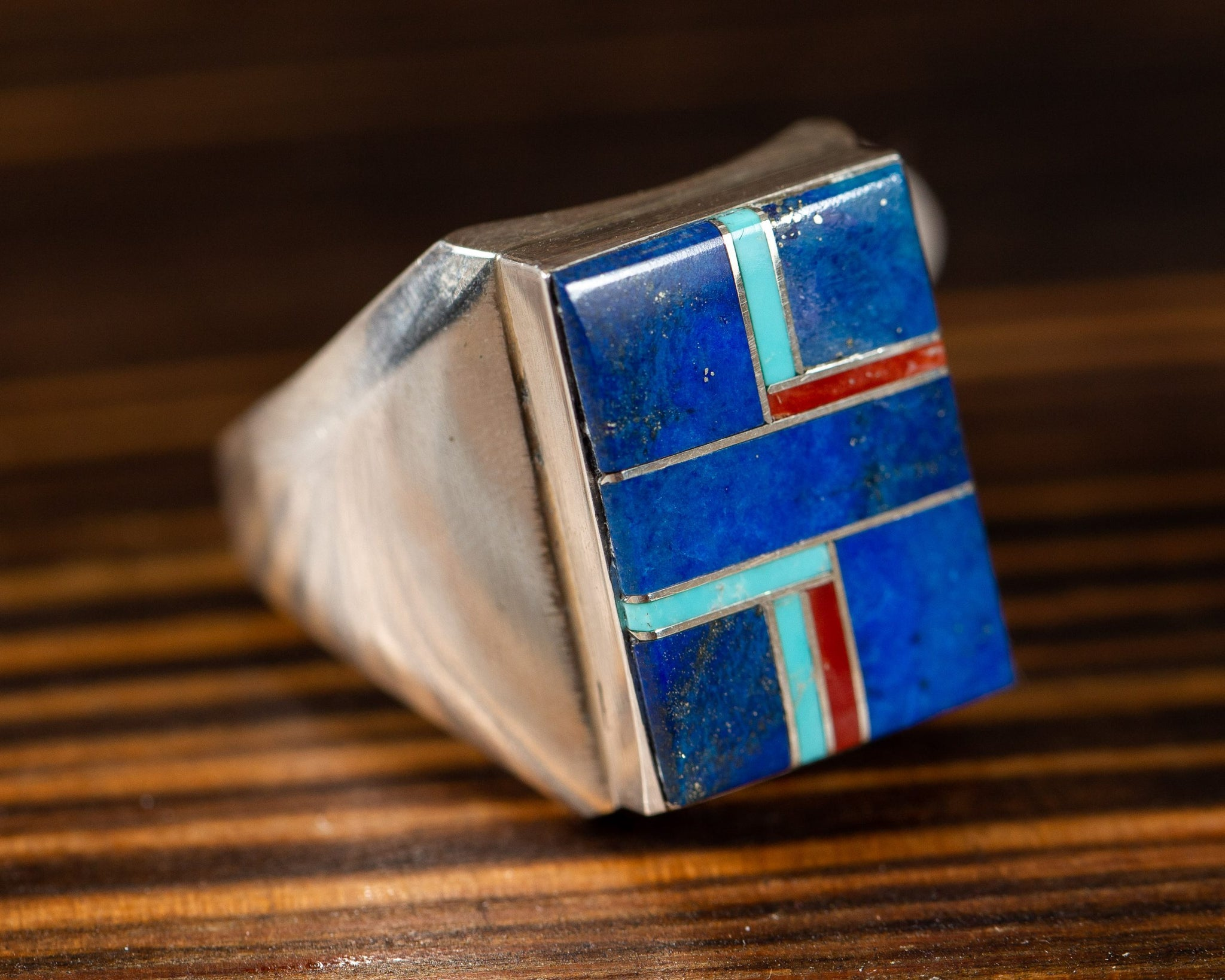 Lapis, Turquoise and Coral Ring