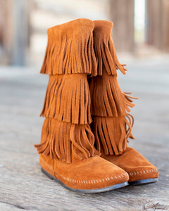 Minnetonka Three Layer Fringe Boot