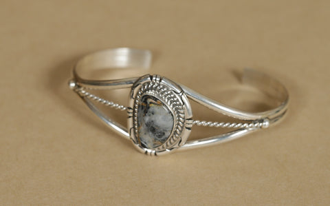 Sterling Silver Bracelet Moonstone Inlay
