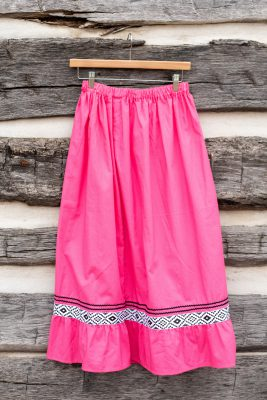Pink Skirt with Black Ribbons