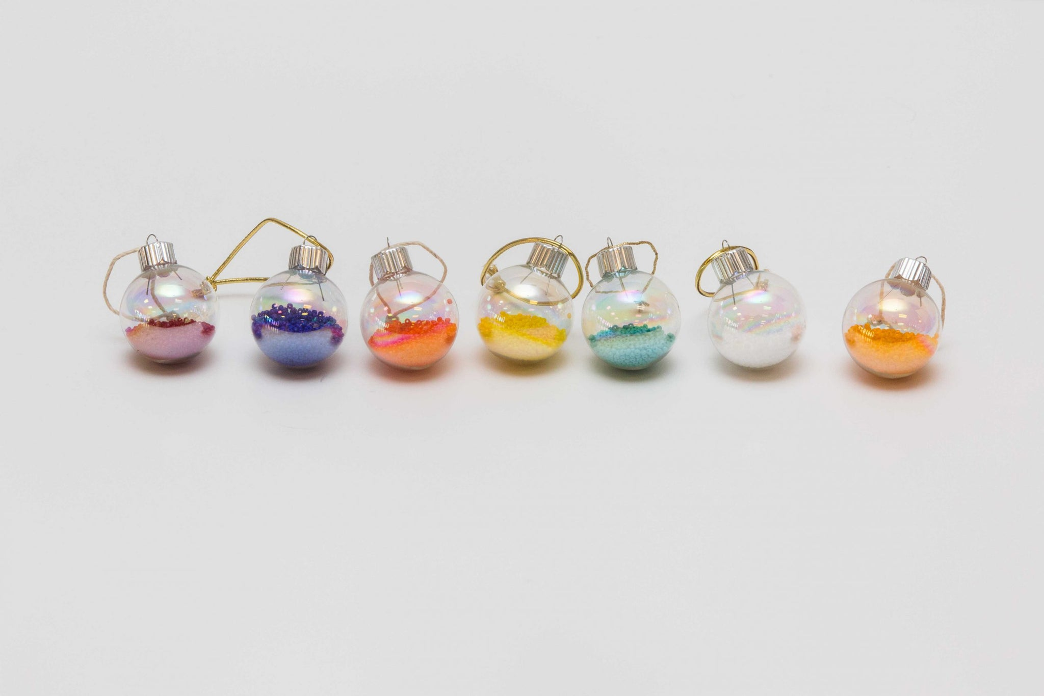 Iridescent Glass Ornaments with Seed Beads