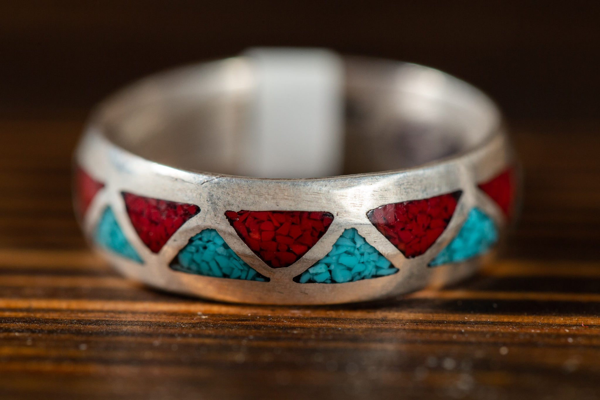 Turquoise and Coral Inlay Ring Band