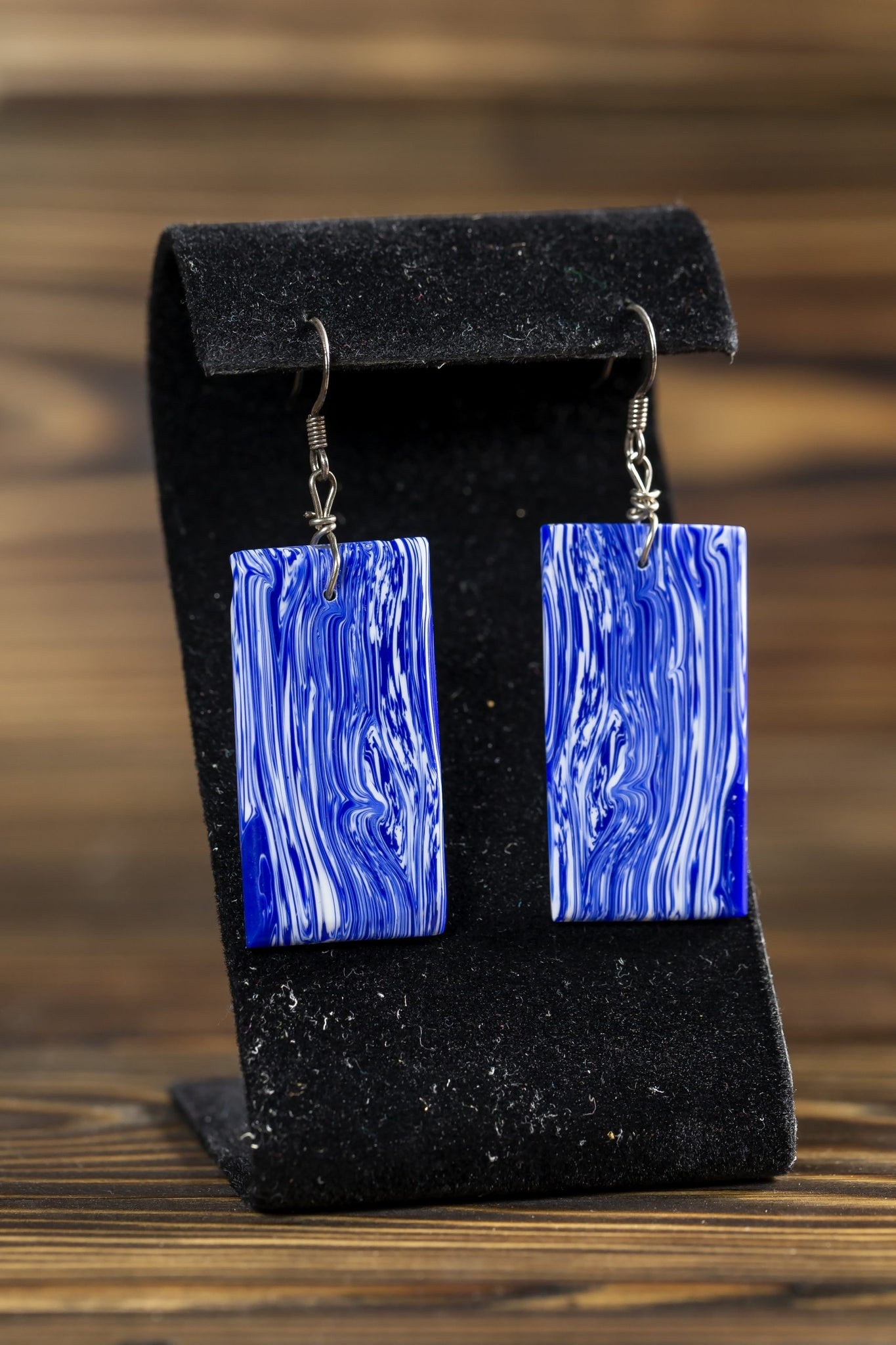 Blue Marble Earrings