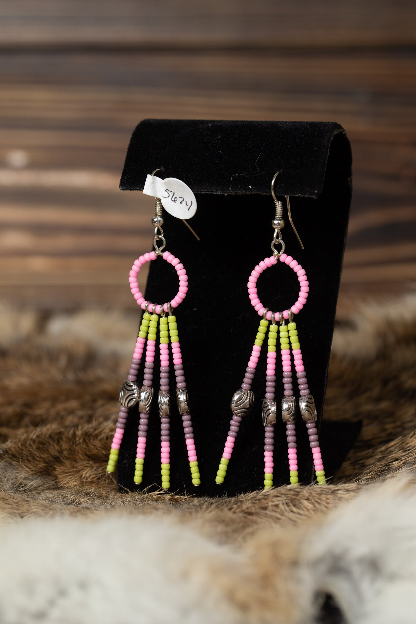 Small Hoop Beaded Dangle Earrings