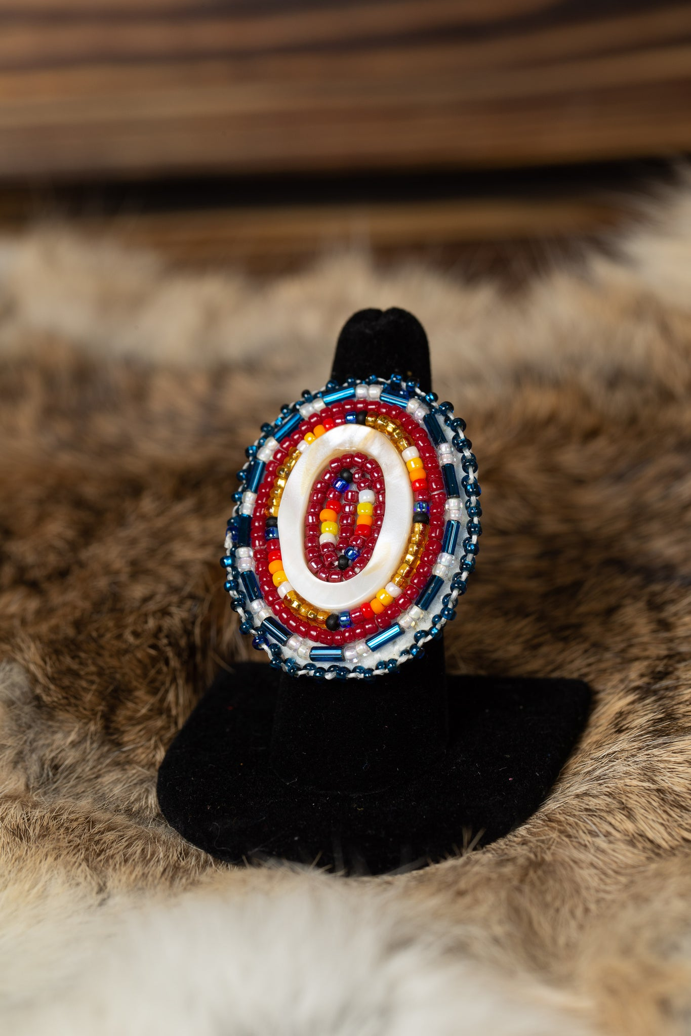 Blue and Maroon Beaded Ring