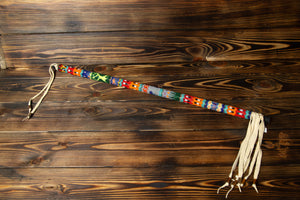 White Leather Beaded Dance Stick