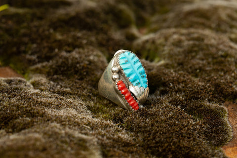 Turquoise and Coral Feather Ring
