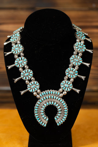 Turquoise\Coral Squash Blossom Necklace