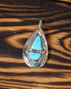 Turquoise and Sterling Silver Snake Pendant