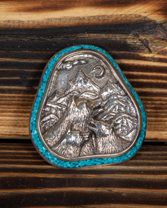 Sterling Silver and Turquoise Wolves Pendant