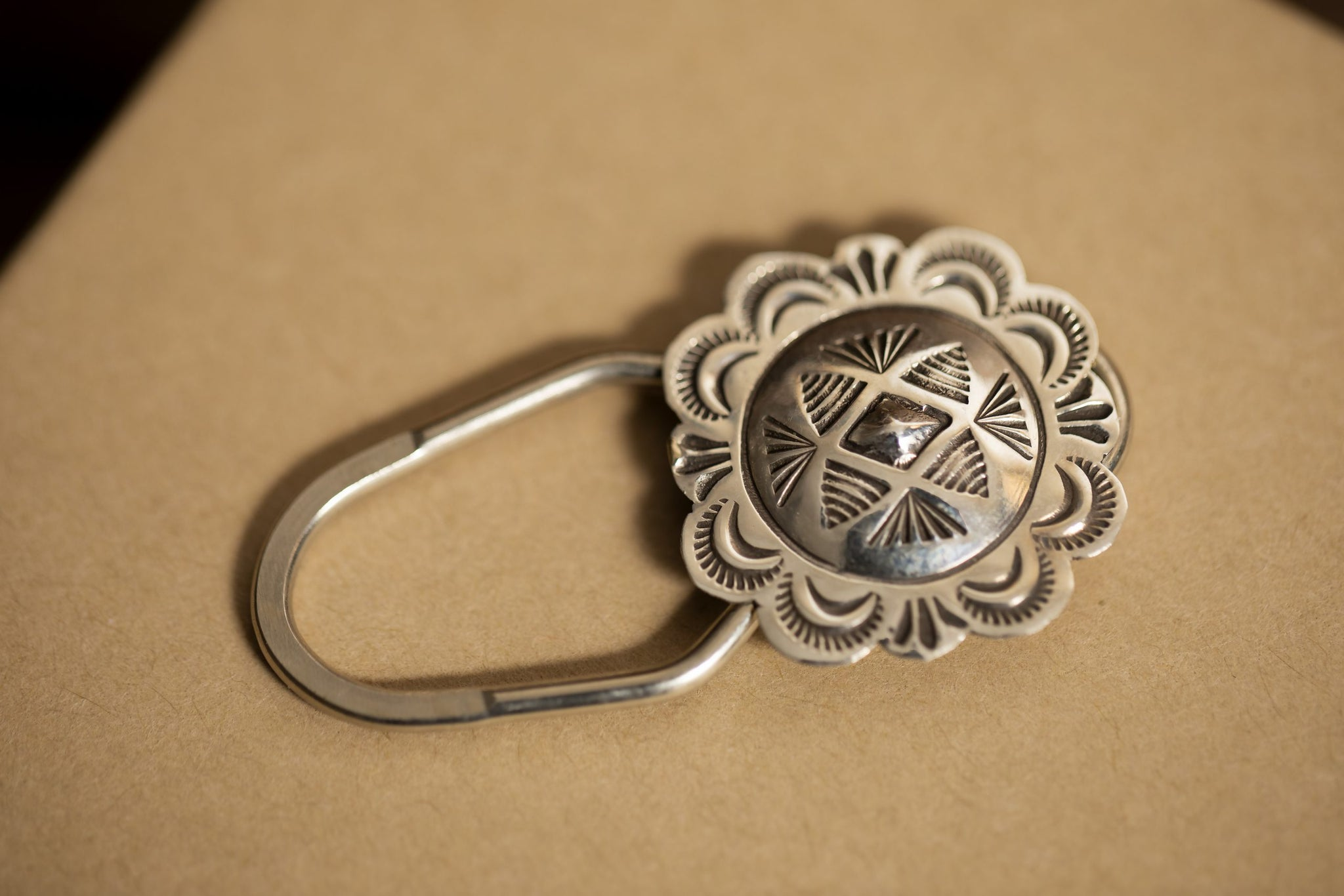 Sterling Silver Stamped Key Ring