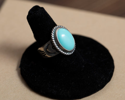 Turquoise Ring with Stamped Band