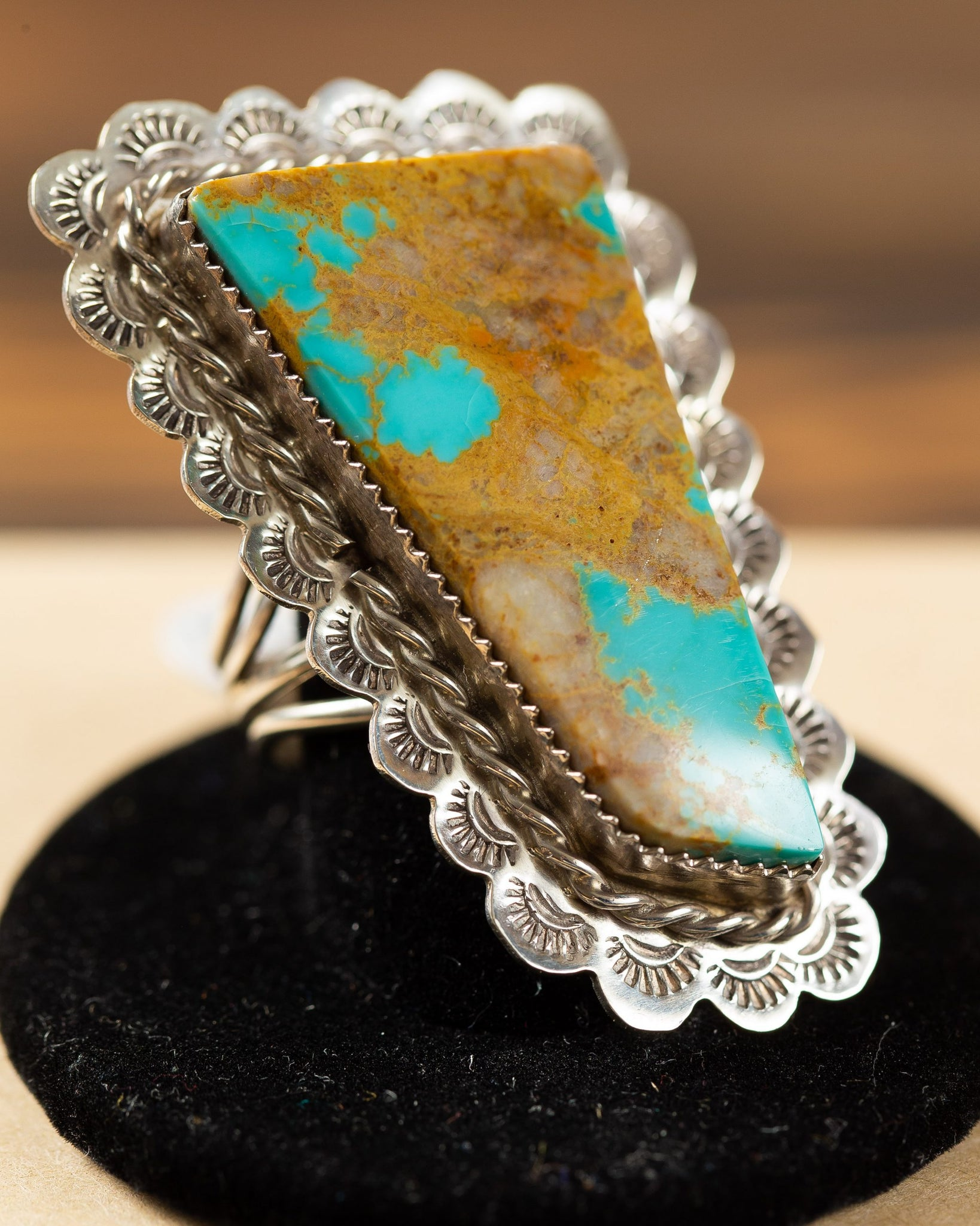 Turquoise Stamped Edge Ring