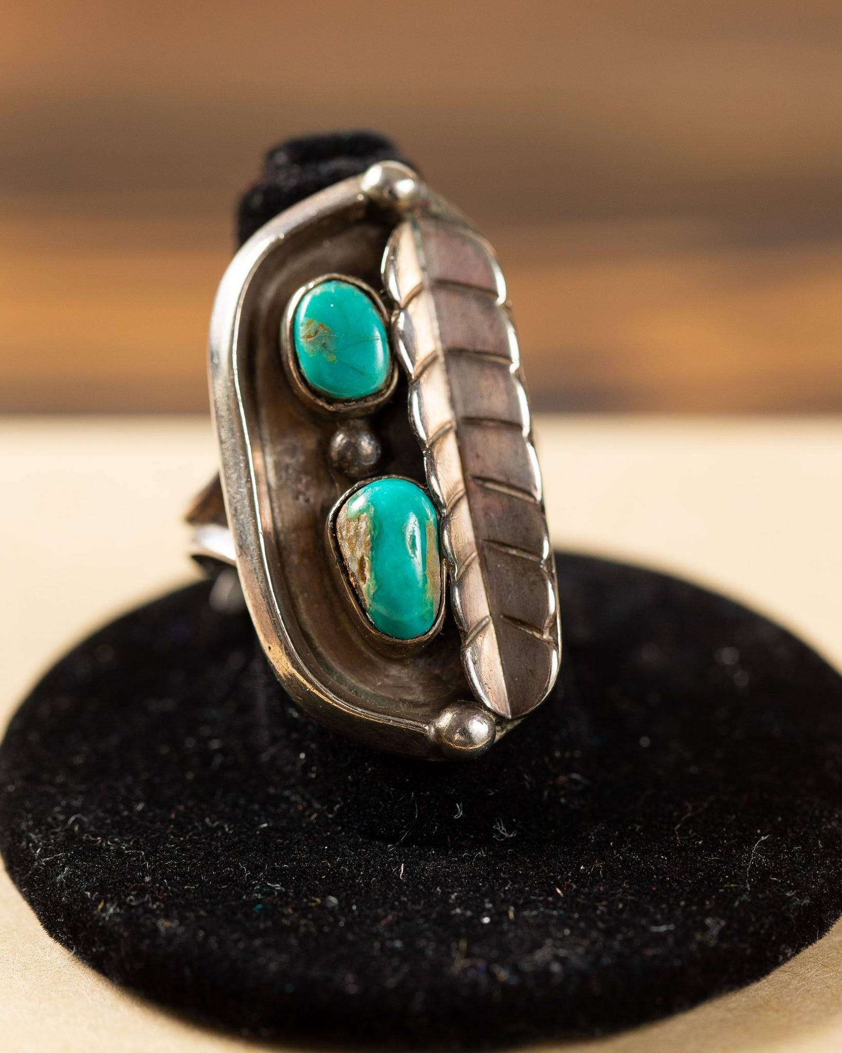 Sterling Silver Feather Ring with Turquoise Stones