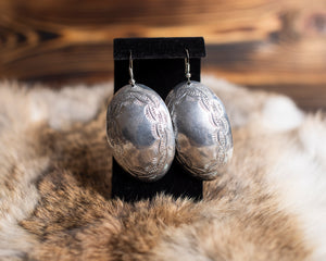 Oval Frame Stamped Nickel Earrings