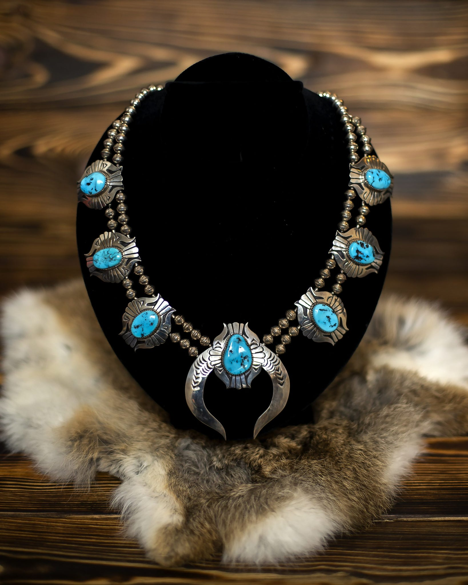 Blue Turquoise Squash Blossom Necklace